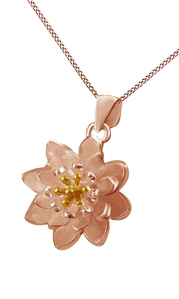 Jewel Zone US Natural White Lotus Flower Pendant Necklace in 14K Gold Over Sterling Silver