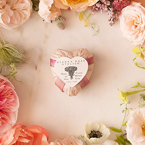 Gianna Rose Atelier Heart Soap With Honey And Aloe - French Milled All Natural Plant Based Bath Soap With Fresh Linen Scent, Pearl, 4oz
