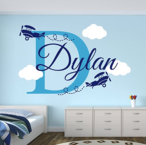 (Personalized Name Airplanes Wall Decal - Boy Name Wall Decal Kids Room Decor - Clouds Wall Decal Nursery Decor (40Wx20H))