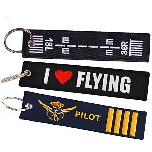 Tomcrazy Pilot Keychain, Double Sided Embroidered Fabric I Love FLIYING Aviation Ring Key Chain,Bags Decorative Ornaments Keychains ATV UTV Pilot Tag Lock (3PCS (Mixed 3 Designs))