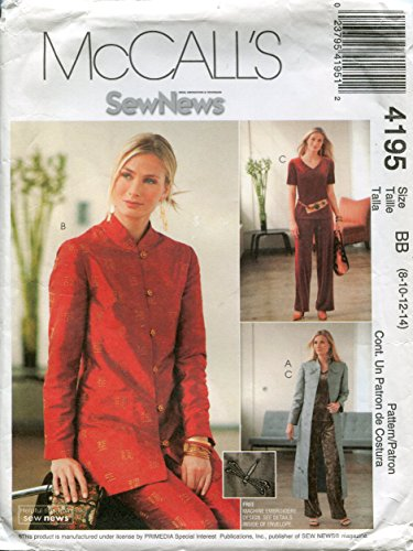 McCall's Sew News Pattern 4195 Misses/Miss Petite Unlined Duster, Unlined Jacket, Top and Pants, Size BB (8-10-12-14) ()