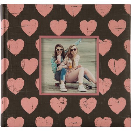 2UP Hearts Framed Front Photo Album, Pink