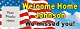 1.5ftX4ft Custom Personalized Welcome Home Military US Army Soldier Marine Corps Navy Welcome Home Banner Sign with your photo