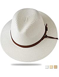 e81545e6131 Panama Hat Sun Hats for Women Men Wide Brim Fedora Straw Beach Hat UV UPF 50