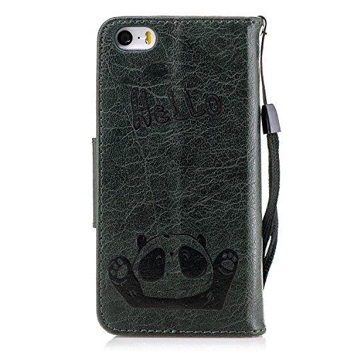 Fonction hello Avec 5s Stand Cuir Green Magnétique Housse Panda Pour Gris Étui fermeture Bonroy bonjour Iphone 5 En 5 Coque La Se BwgROPqxR