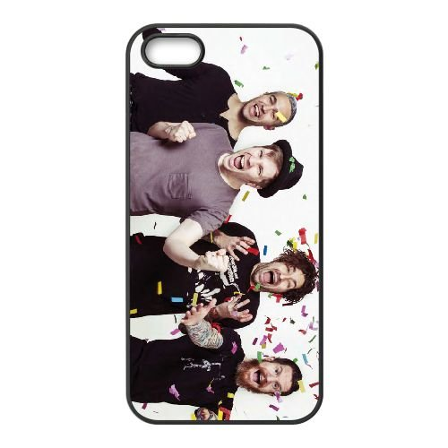 Fall Out Boy 001 coque iPhone 5 5S cellulaire cas coque de téléphone cas téléphone cellulaire noir couvercle EOKXLLNCD23625