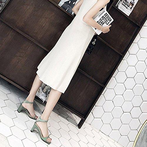 CN35 con Altos Verde Cuadrado de Zapatos Blanco CAICOLOR UK3 EU36 Verano 5 Tamaño Tacones Hadas Abierto pie del Dedo Color Grueso con Slipper Simple BqPwSgxzw