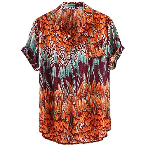 NIUQI Mens Hawaiian Lump Chest Pocket Short Sleeve Round Hem Loose Shirts Print Blouse Yellow -