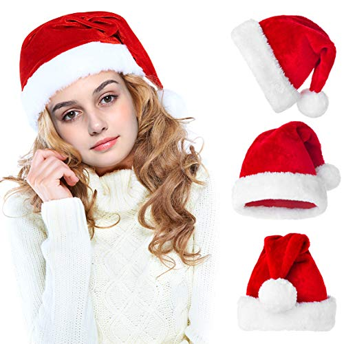Funny Santa Costumes (Christmas Hats for Adults & Kids Santa Costume Hat Santa Claus Costumes Hat Funny Holiday Party Hats, Red(Pack of)