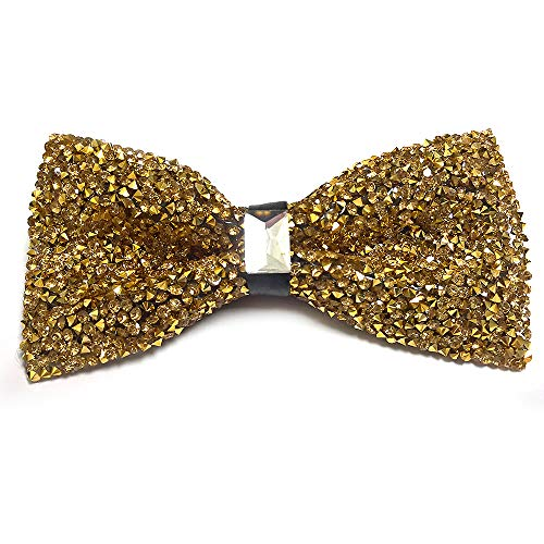 CANGRON Men Glitter Sparkly Gold Festival Bow Ties Crystal