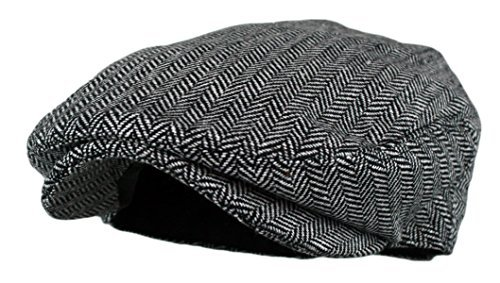 Wonderful Fashion Men's Classic Herringbone Tweed Wool Blend Newsboy Ivy Hat with (Grey, SM)