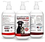 Pure Wild Alaskan Salmon Oil for Dogs & Cats - Best For Scratching, Joint Pain, Skin & Coat, Immune & Heart Health. All Natural Omega 3 Liquid Food Supplement For Pets. EPA + DHA Fatty Acids. 16oz