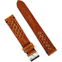 B & R Bands 20mm Cognac Classic Vintage Racing Watch Band Strap - Small Length