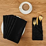 Deconovo Soft Jacquard Damask Dinner Cloth Napkins with Geometric Patterns 18 x 18 inch Stain and Spillproof Smooth Luxury Serviette for, Banquets, Weddings, or Family Gatherings Set of 6 Black