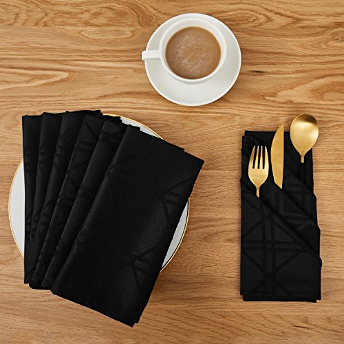 Deconovo Soft Jacquard Damask Dinner Cloth Napkins with Geometric Patterns 18 x 18 inch Stain and Spillproof Smooth Luxury Serviette for, Banquets, Weddings, or Family Gatherings Set of 6 Black by Deconovo