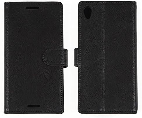 エクスペリア Xperia Z3 SOL26、SO-01G、401SO用 本革 本物 良質レザー 手帳型 高機能 ケース カードポケット・スタンド機能付き/軽量、薄型シンプルデザイン DESIRABLE(デザイアブル製)国内正規ブランド (ブラック)