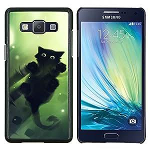 EJOOY---Cubierta de la caja de protección para la piel dura ** Samsung Galaxy A5 A5000 ** --Lindo gato Espejo de Agua Reflexión Negro
