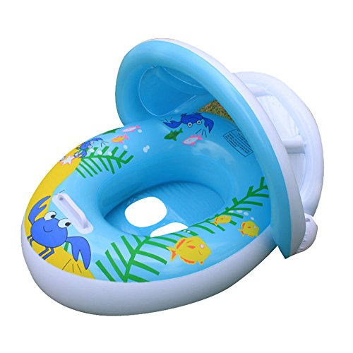 Pvc Floats - Willcome Sunshade Baby Float Seat PVC Inflatable Swimming Bath Pool Ring with Canopy for the Age 6-24 Month Kids