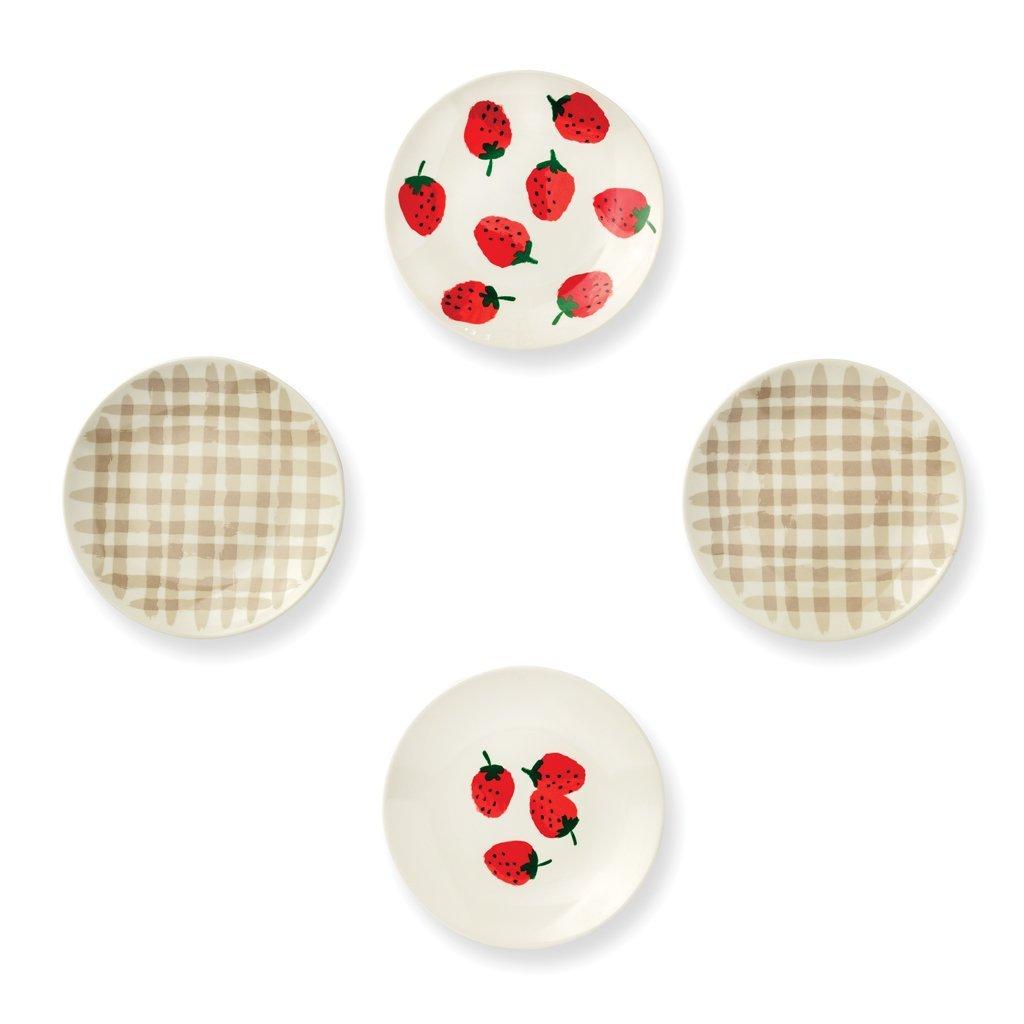 Kate Spade New York Women's Strawberries Melamine Tidbit Plates, Red/Green/White, One Size