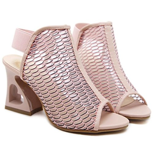 LINYI Women's Summer Pink Heel Heart Chunky With Thick Heels New Sandals Shaped 2018 Mesh rrqtHdOw