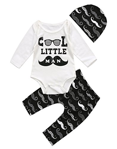 Halloween Outfits For Men (Unisex Baby Boy Girl Halloween Words Print Long Sleeve Romper+Pumpkin&Ghost Leggings Long Pants+Hat Outfit (0-3 Months, Little Man))