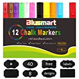 #9: Blusmart Liquid Chalk Markers Pen - 12 Pack With Free 40 Chalkboard Labels - 6mm+3mm Reversible Tips - Child Friendly and Can be Wiped