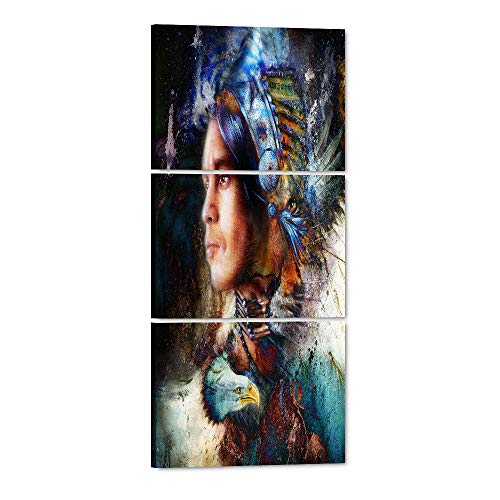 Yatsen Bridge 3 Piece Native American Indian with Eagles feather Painting Home Wall Decor Canvas Artwork Picture for Living Room Print Painting on Canvas Framed Strong Color Style Waterproof Wall Art