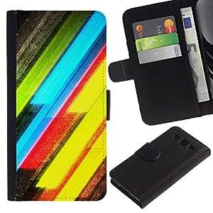 SAMSUNG Galaxy S3 III / i9300 / i747 Modelo colorido cuero carpeta tirón caso cubierta piel Holster Funda protección - Neon Lines Yellow Green Electric