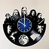CAKE TOPPERS COMPANY SEASON 8 GAME OF THRONES Handmade Vinyl Record Wall Clock - Get unique home room wall decor - Mother Of Dragons Targaryen, Jon Snow – GOT Epic Movie Unique Modern Art