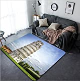 Vanfan Design Home Decorative 207066706 Leaning Tower of Pisa in Tuscany a Unesco World Heritage Site and one of the most recognized and famous buildings in the world Modern Non-Slip Doormats Carpet f