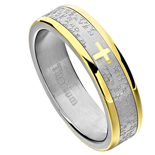 FlameReflection Stainless Steel Ring Band Bible Lords Prayer Cross Wedding Size 13 SPJ