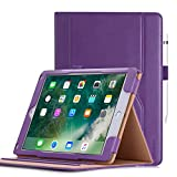 iPad Pro 10.5 Case Cover, iHarbort PU Leather Stand Case Holder for iPad Pro 10.5'' A1701 A1709 with 3 Viewing Angles, Pencil Holder Case, Document Card Pockect, Auto Wake/Sleep Function, Purple