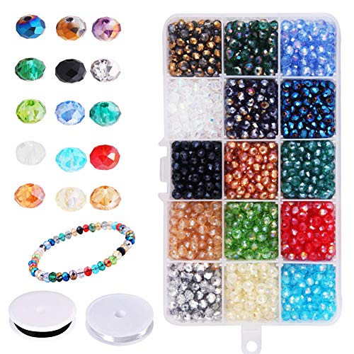Dushi Briolette Faceted Beads Set 1500 pcs Rondelle Crystal Glass Beads 6mm 15 Colors for DIY Bracelet Necklace Jewelry Making with 2 Rolls Crystal String Container Box