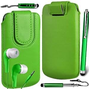 N4U Online Premium cuero de la PU del caso del tirón Tirar Tab cubierta de bolsa Con magnética Cierre de correa, Auricular Auriculares y 3 Pack Bundle Stylus para Nokia Asha 500 - Verde