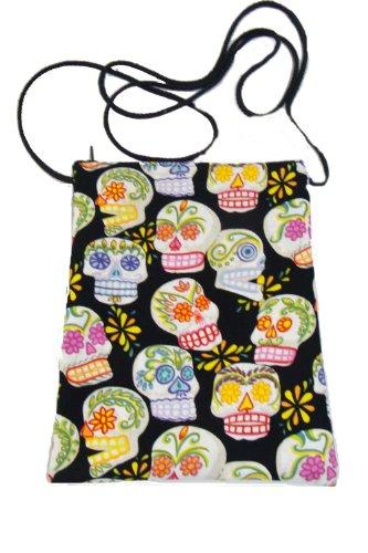 US Handmade Fashion Passport Cover Bag CALAVERAS SUGAR SKULLS Day of the Dead Skulls Rockabilly Halloween Gothic Pattern Shoulder Bag US Handmade Handbag Purse Alexander Henry Cotton Fabric, BLACK Color, PT 1016]()
