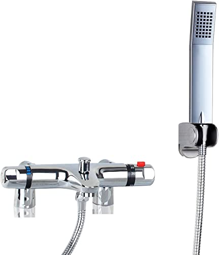 OUBONI Thermostatic Bathroom Shower Faucet Showering Mixer, Polished Chrome Hot Cold Water Mixer Constant Temperature Control Mix Water Valve with Copper Valve Core
