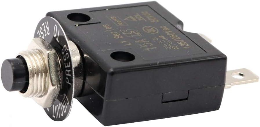 WOVELOT 1X 15A Disyuntor 12V / 24V Botón Reiniciable Interruptor Térmico Interruptor De Montaje En Panel con Tapa Impermeable