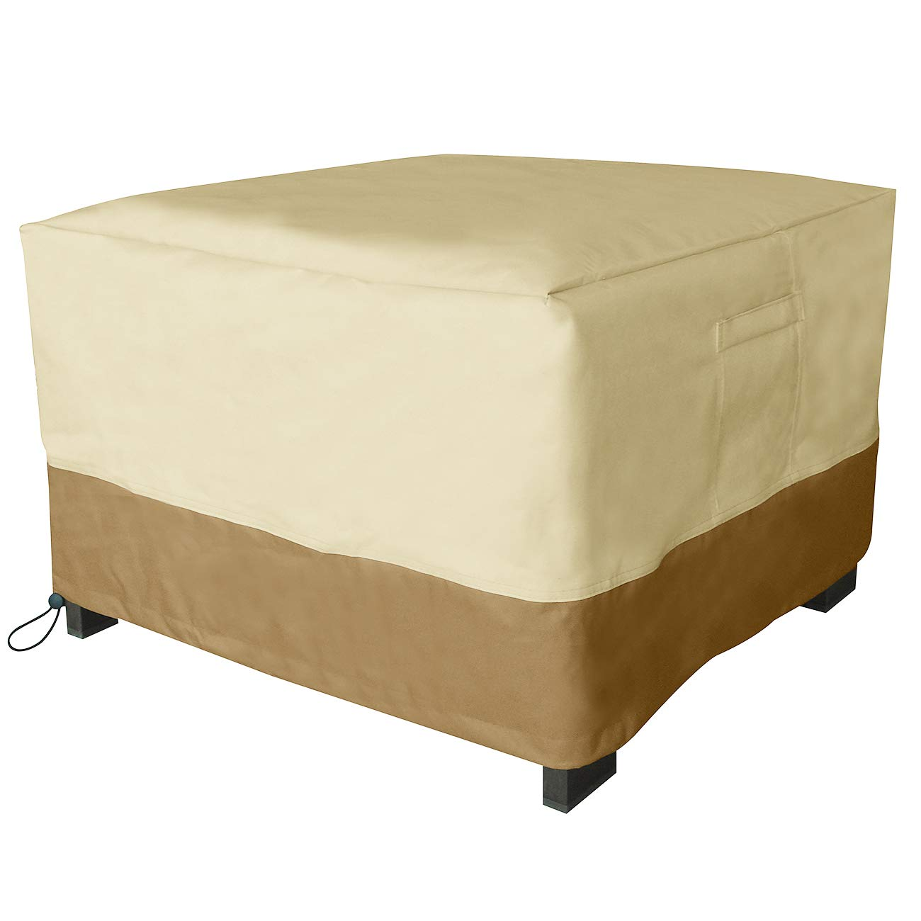 Vanteriam Square Patio Ottoman/Footrest/Side Table Cover-Durable and Waterproof Outdoor Furniture Cover, Size 32''(L) x 32''(W) x 18''(H)