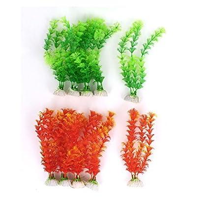Amazon.com : eDealMax Plantas de acuario tanque de agua Artificial DE 8 pulgadas de altura 10Pcs Verde Naranja : Pet Supplies