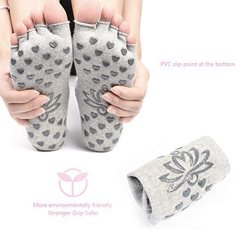 Sportsocken mit f/ünf Fingern zur Verbesserung der Stabilit/ät Fertig am Fu/ß Ballettsocken f/ür Pilates Dance offene Spitze 2 Paar rutschfest, Soumit Yoga-Socken