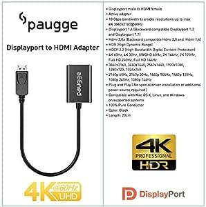 Paugge 4K 60Hz HDR HDCP 2.2 Destekli Displayport to HDMI Adaptör