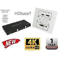4K HDbaseT Displayport HDMI VGA Wall Plate Extender Kit UltraHD 230FT 70M Transmitter Receiver IR RS232 CAT5e CAT6 HDCP2.2 CRESTRON CONTROL4 SAVANT HOME AUTOMATION 4K2K