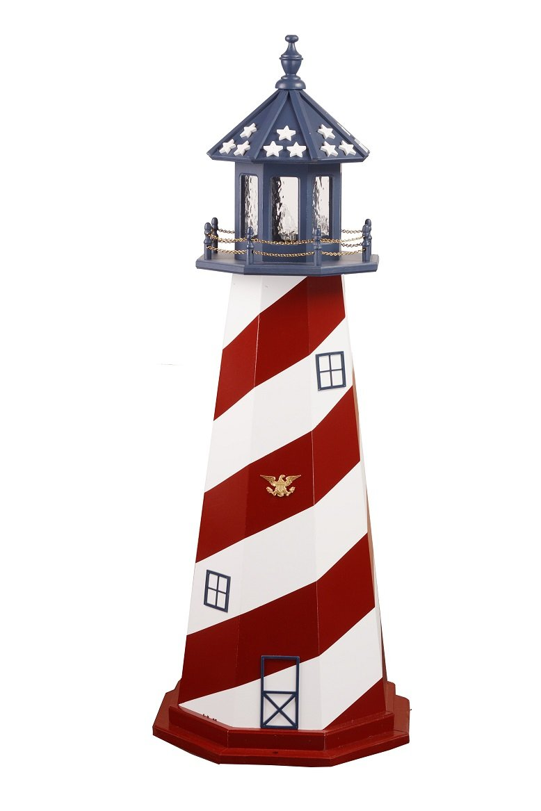 Amish-Made Red, White and Blue Wooden Outdoor Cape Hatteras Replica Lighthouse with 25 Watt Light, 45'' Tall