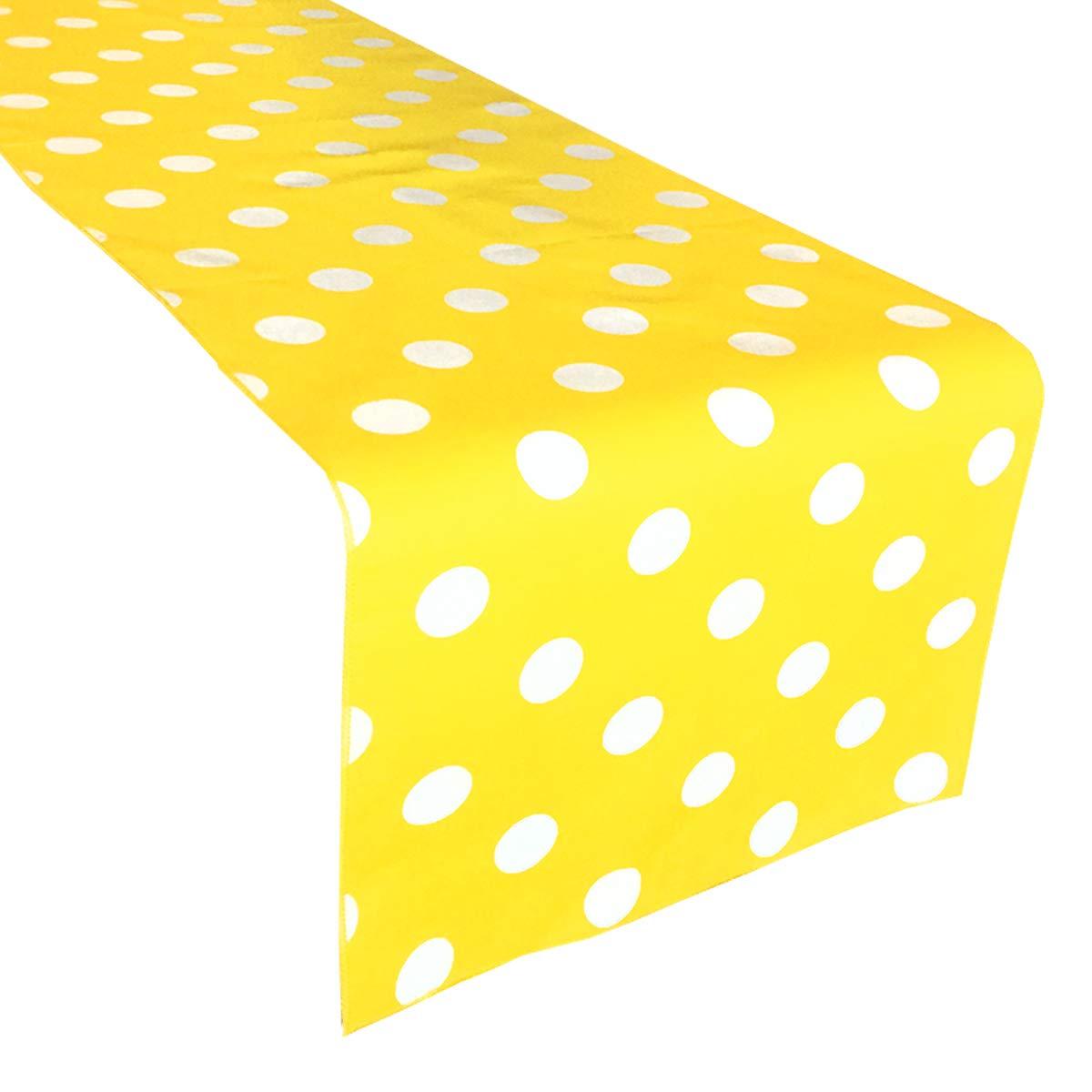 lovemyfabric装飾コットンホワイトPolka Dots on /スポットイエローパーティーイベント結婚式のための印刷ホーム装飾テーブルランナー。12
