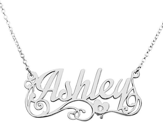 Solid 14k Gold Letter I Diamond Pendant With Chain State of Your Name Necklace Au585 Jewelry Color White or Rose