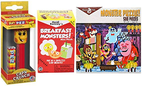Mini Plush Cereal Monsters 2 Blind Box Bundled with Jigsaw Puzzle Breakfast Monsters Retro Crunch Fun / Frute Brute / Boo-Berry / Count Chocula / Yummy Mummy & Frankenberry Scary -