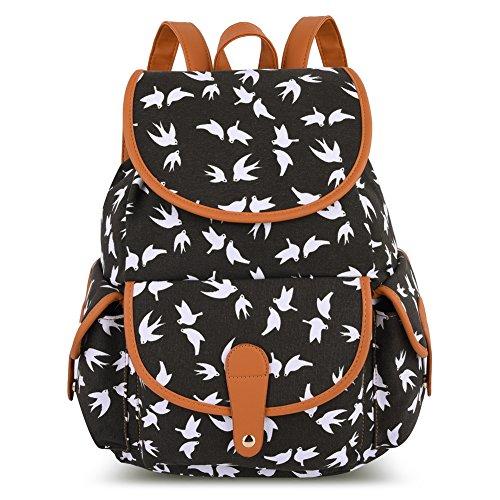 vbiger-canvas-backpack-for-women-girls-boys-casual-book-bag-sports-daypack-bird-black
