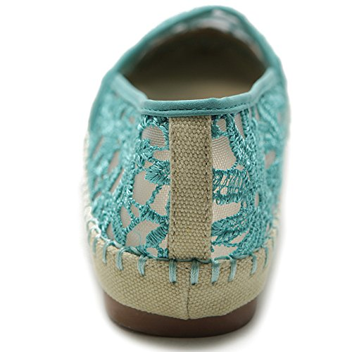 Ollio Mujeres Ballet Shoe Breathable Floral Lace Flat Azul Verdoso
