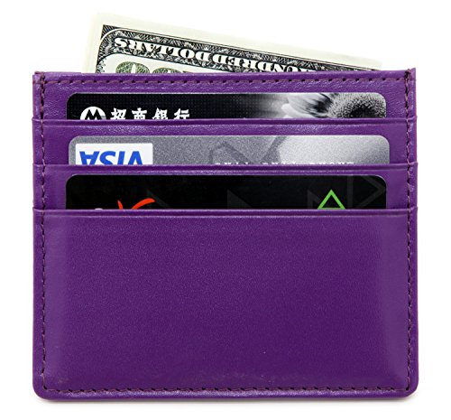 Front Pocket Wallet - Leather Minimalist Wallet Unisex Slim Card Holder - Purple ()