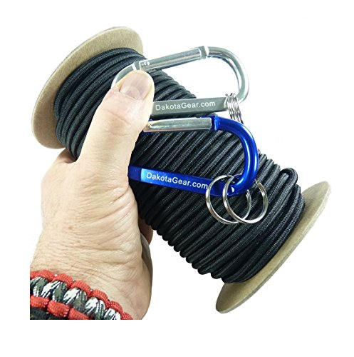 "Shock Cord – BLACK 1/4"" x 25 ft. Spool. Marine Grade, with 2 Carabiners & Knot Tying eBook.  Also called Bungee Cord, Stretch Cord & Elastic - Bungee Marine"
